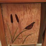 Marqueterie roseau et papillon